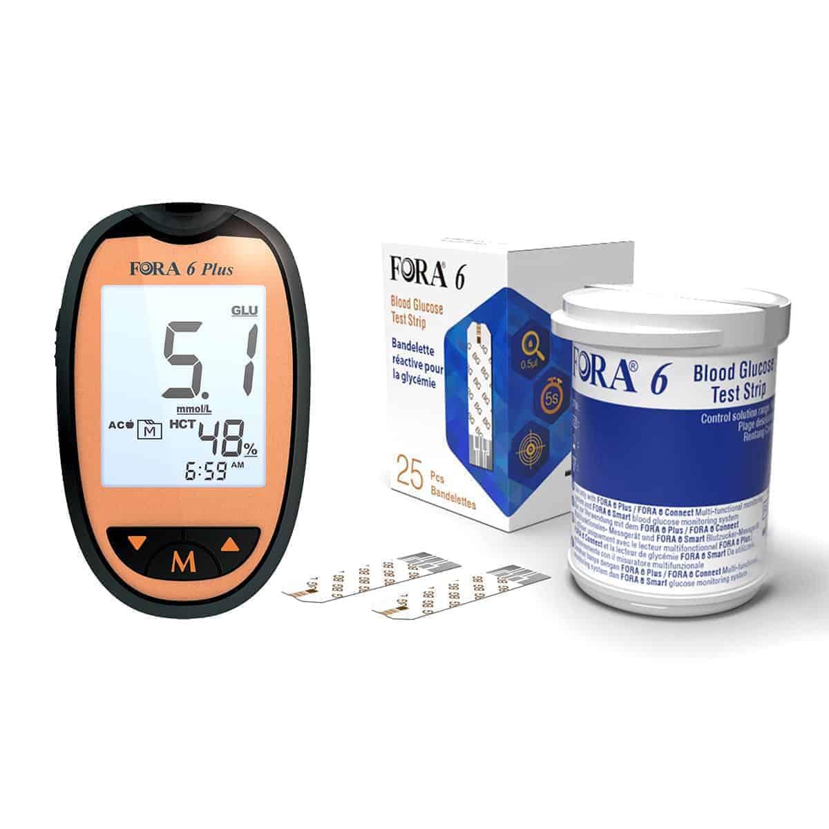 FORA 6 Plus Blood Glucose Monitoring Starter Pack